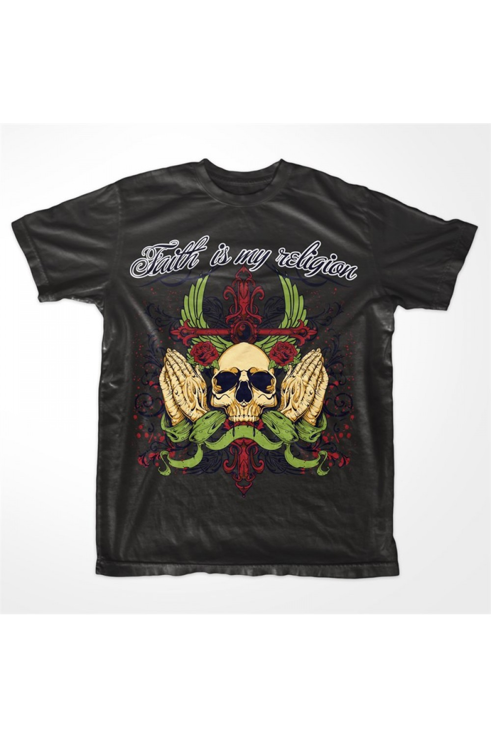 "Skulls Men Printed Tshirt 0004 ""Faith is my Religion"""